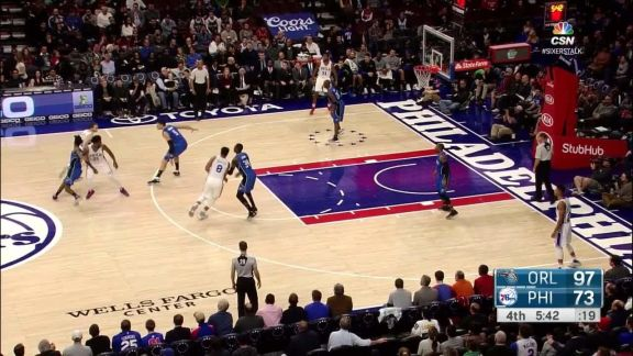 Joel Embiid Makes The Finger Roll Plus The Foul