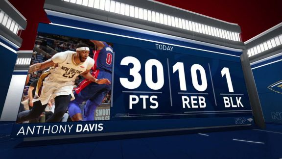 Anthony Davis Scores 30 In Win vs. Pistons